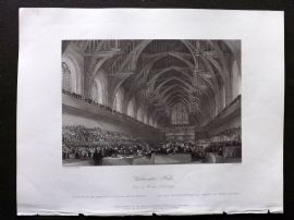 London Interiors 1841 Antique Print. Westminster Hall, Trial of Warren Hastings. Legal Print